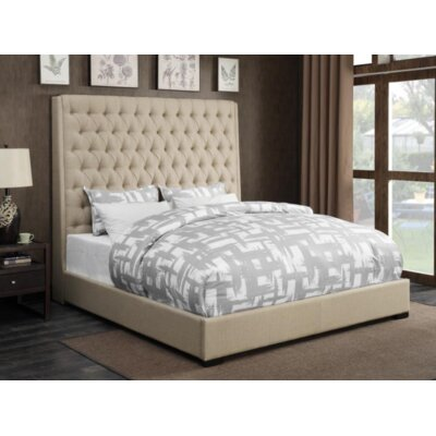 Brannelly Upholstered Panel Bed Color: Cream, Size: King