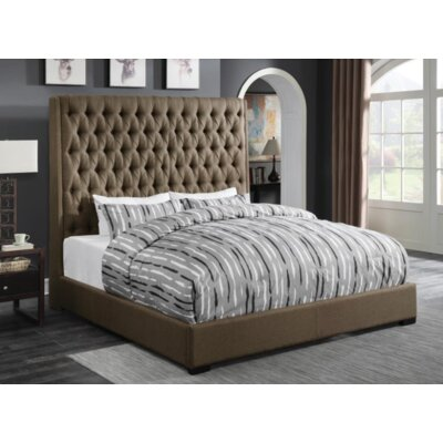 Brannelly Upholstered Panel Bed Color: Brown, Size: California King