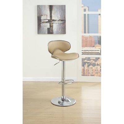 Crayton Adjustable Height Swivel Bar Stool Upholstery: Brown