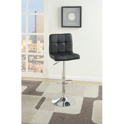 Creamer Adjustable Height Swivel Bar Stool Upholstery: Black