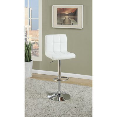 Creamer Adjustable Height Swivel Bar Stool Upholstery: White
