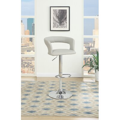 Creasey Adjustable Height Swivel Bar Stool Upholstery: Gray