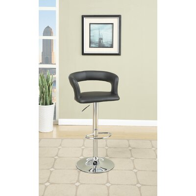 Creasey Adjustable Height Swivel Bar Stool Upholstery: Black