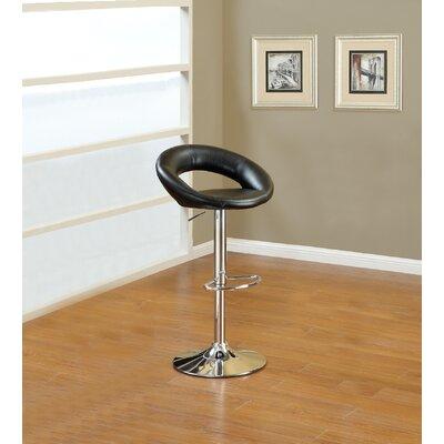 Creasman Adjustable Height Swivel Bar Stool Upholstery: Black
