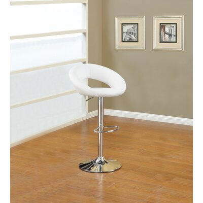 Creasman Adjustable Height Swivel Bar Stool Upholstery: White