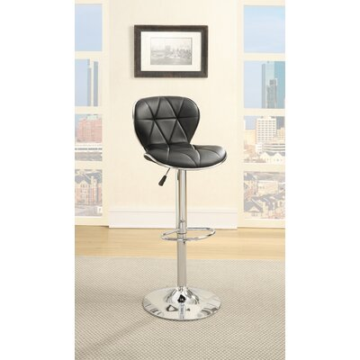 Credle Adjustable Height Swivel Bar Stool Upholstery: Black