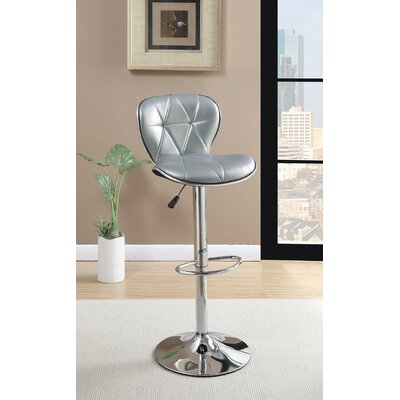 Credle Adjustable Height Swivel Bar Stool Upholstery: Silver