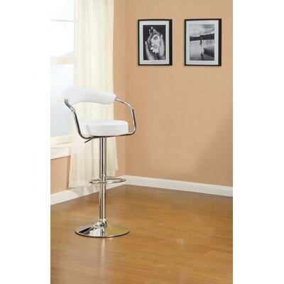 Duplantis Adjustable Height Swivel Bar Stool Upholstery: White