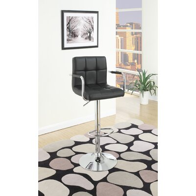 Cremeans Adjustable Height Swivel Bar Stool Upholstery: Black