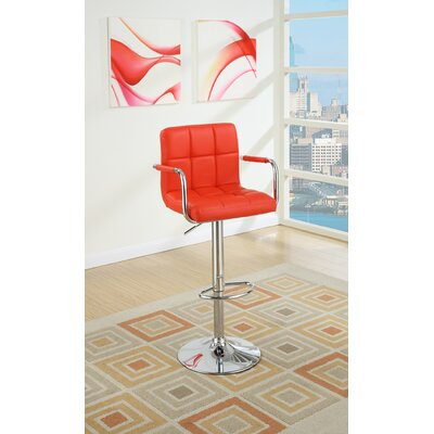Cremeans Adjustable Height Swivel Bar Stool Upholstery: Red