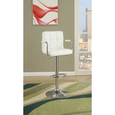Cremeans Adjustable Height Swivel Bar Stool Upholstery: White
