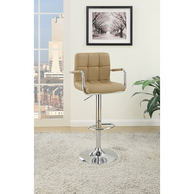 Cremeans Adjustable Height Swivel Bar Stool Upholstery: Brown