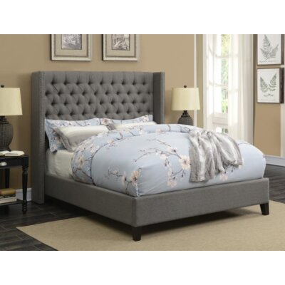 Hadnot Upholstered Panel Bed Color: Gray, Size: Twin