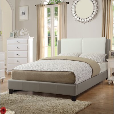 Fife Full/Double Upholstered Platform Bed Color: White/Grey