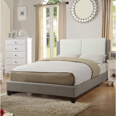 Fife Queen Upholstered Platform Bed Color: White/Grey