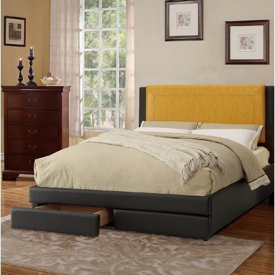 Bachani Upholstered Platform Bed Color: Citrus/Brown, Size: Full