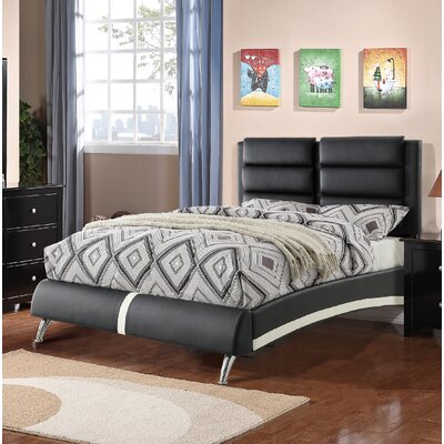 Yamaguchi Upholstered Platform Bed Color: Black, Size: Queen
