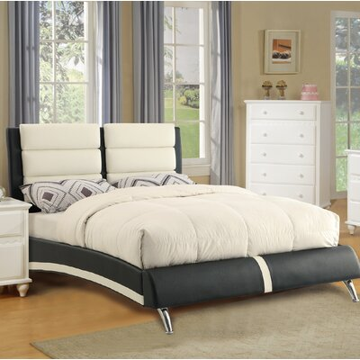 Yamaguchi Upholstered Platform Bed Color: White/Black, Size: Full