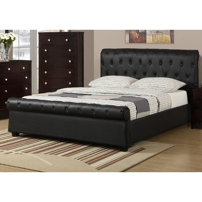 St. Lawrence Upholstered Sleigh Bed Color: Black, Size: Full