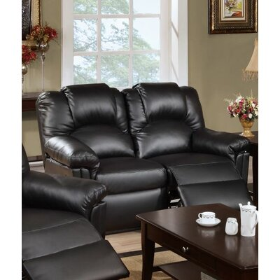 Cannady Reclining Loveseat Upholstery: Black
