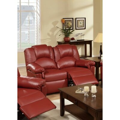 Cannady Reclining Loveseat Upholstery: Burgundy