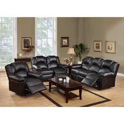 Cannady 3 Piece Living Room Set Upholstery: Black
