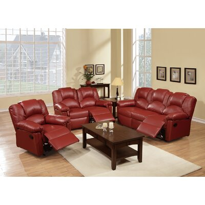 Cannady 3 Piece Living Room Set Upholstery: Burgundy