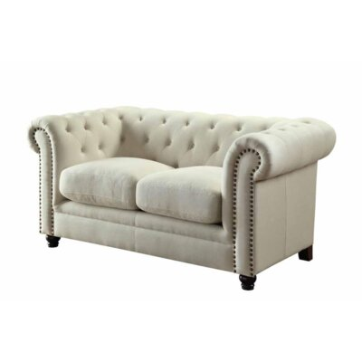 Cozine Chesterfield Loveseat Upholstery: Oatmeal
