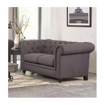 Cozine Chesterfield Loveseat Upholstery: Gray