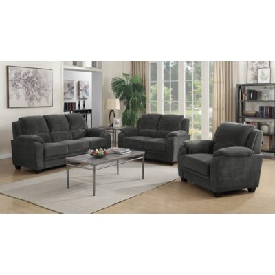 Creamer 3 Piece Living Room Set Upholstery: Charcoal