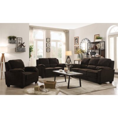 Creamer 3 Piece Living Room Set Upholstery: Chocolate
