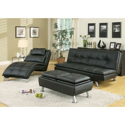 Renfro Configurable 3 Piece Living Room Set Upholstery: Black