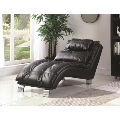 Renfro Chaise Lounge Upholstery: Black