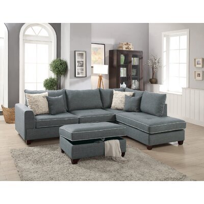 Heier Reversible Sectional with Ottoman Upholstery: Steel