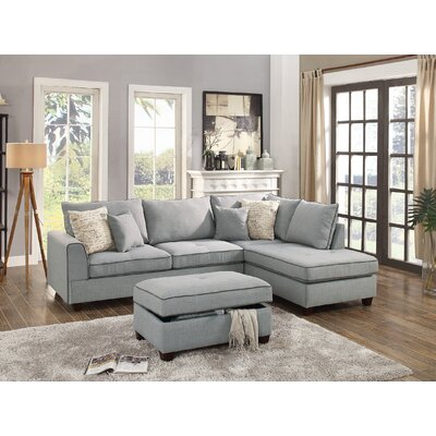 Heier Reversible Sectional with Ottoman Upholstery: Light Grey