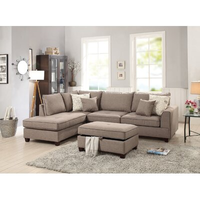 Heier Reversible Sectional with Ottoman Upholstery: Mocha