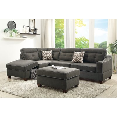 Dahlquist Reversible Sectional with Ottoman Upholstery: Ash Black
