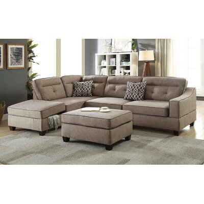 Dahlquist Reversible Sectional with Ottoman Upholstery: Mocha