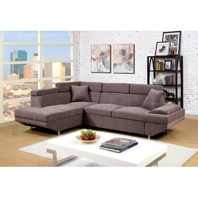 Tamalenus Sleeper Sectional Upholstery: Brown, Orientation: Left Hand Facing
