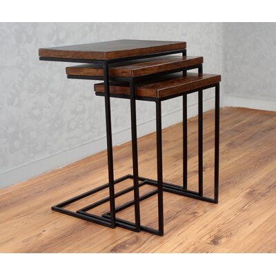 Sharell Mango Parquet 3 Piece Nesting Tables