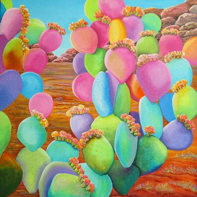 'Prickly Pear Cactus Eye Candy' Acrylic Painting Print on Canvas Size: 18