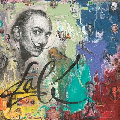 'Salvador Dali II' Acrylic Painting Print on Canvas Size: 18