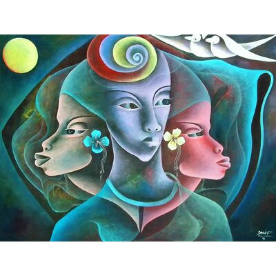 'Three Cultures' Acrylic Painting Print on Canvas Size: 18