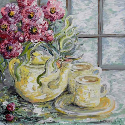 'Two for Tea' Acrylic Painting Print on Canvas Size: 18