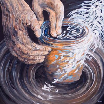 'The Potters Hands' Acrylic Painting Print on Canvas Size: 18