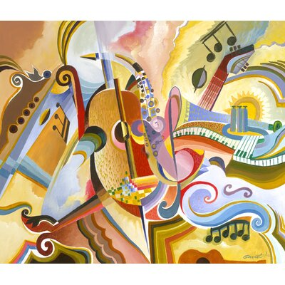 'All That Jazz' Rectangle Acrylic Painting Print on Canvas Size: 18