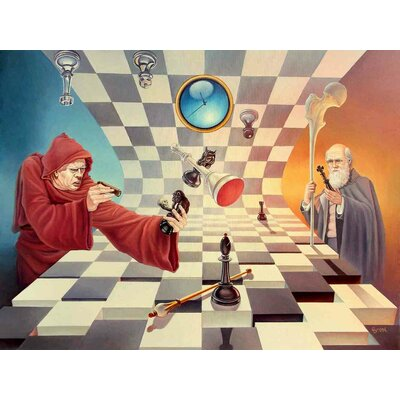 'Darwin versus Torquemada' Acrylic Painting Print on Canvas Size: 18