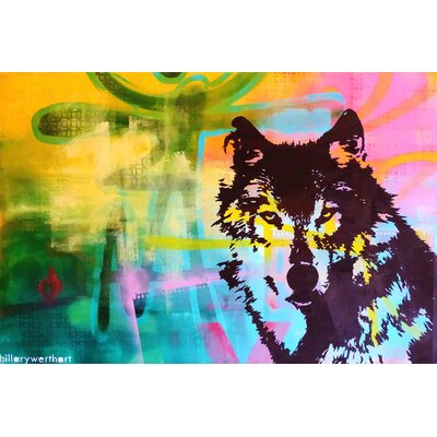 'Mr. Wolf' Acrylic Painting Print on Canvas Size: 18