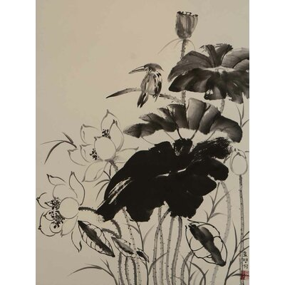 'Kingfisher in Lotus Pond' Acrylic Painting Print on Canvas