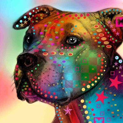 'American Staffordshire Terrier' Acrylic Painting Print on Canvas Size: 18